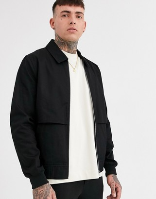 ASOS DESIGN two-piece harrington jacket with storm vent in black