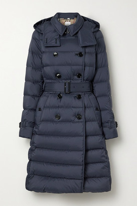 Burberry Belted Double-breasted Quilted Shell Down Coat - Navy