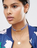 Asos Multirow Coin Choker Necklace