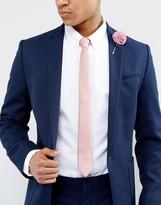 Asos Slim Tie And Floral Lapel Pin