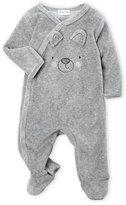 Absorba Newborn/Infant) Grey Teddy Bear Velour Footie