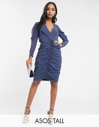 Asos Design DESIGN soft chiffon ruched midi dress-Grey