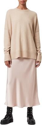 AllSaints Darla 2-in-1 Satin Slipdress & Wool Blend Sweater
