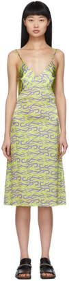 Ashley Williams Green and Purple Tattoo Print Slip Dress