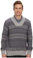 Lacoste Cotton/Wool Patterned Shawl Collar Sweater