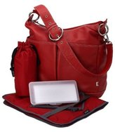 OiOi Red Leather Two Pocket Hobo Diaper Bag by