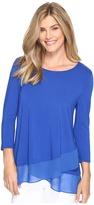 Vince Camuto 3/4 Sleeve Asymmetrical Chiffon Hem Top Women's Clothing