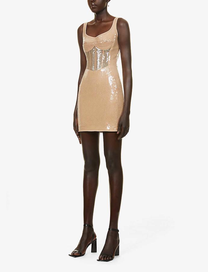 David Koma Corset sequinned mini dress