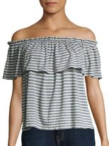 Current/Elliott Striped Ruffle Off-The-Shoulder Top