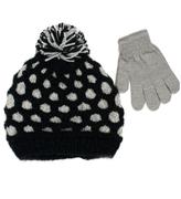 Pink Platinum Black Honeycomb Beanie & Glove Set