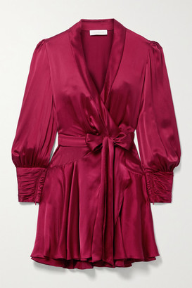 Zimmermann Gathered Washed Silk-satin Mini Wrap Dress - Claret