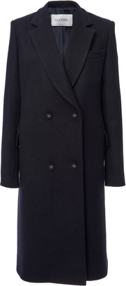 Valentino Logo-Detailed Double-Breasted Wool Melton Coat