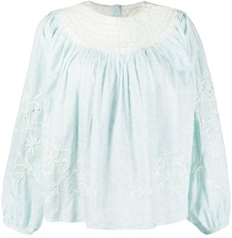LoveShackFancy Tommy embroidered blouse
