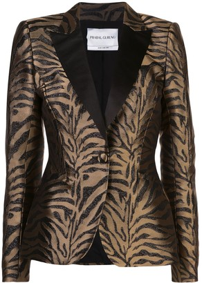 Prabal Gurung Zebra Pattern Fitted Blazer