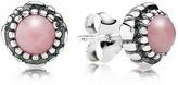 Pandora Earrings - Sterling Silver & Pink Opal Birthday Blooms October Stud