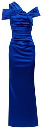 Talbot Runhof Duchesse Stretch Satin One-Shoulder Column Gown