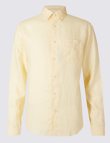 M&s Collection Pure Linen Easy Care Slim Fit Shirt