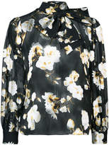 Alice + Olivia Alice+Olivia Violeta neck bow sheer blouse