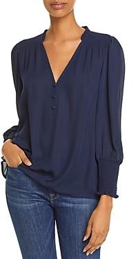 Aqua V Neck Button Front Blouse - 100% Exclusive