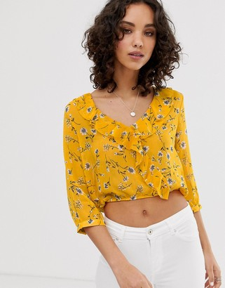 Only floral frill detail crop top