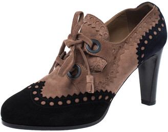 Hermes Multicolor Suede Brogue Detail Lace Up Round Toe Platform Booties Size 38