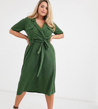 Asos DESIGN Curve midi belted shirt dress in slub-Green