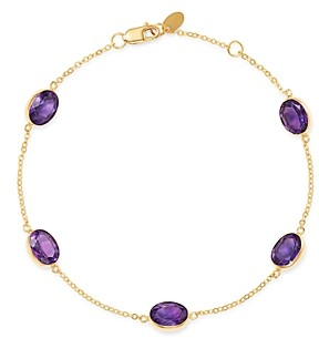 Bloomingdale's Amethyst Bezel Set Station Bracelet in 14K Yellow Gold - 100% Exclusive
