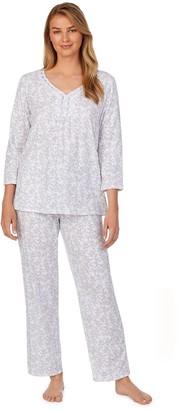 Aria Women's 3/4 Sleeve Pajama Shirt & Pajama Pants Set