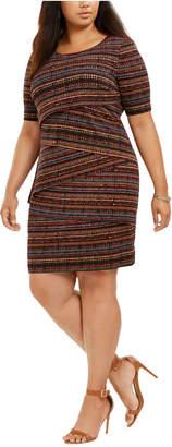 Connected Plus Size Geo-Print Zigzag Sheath Dress