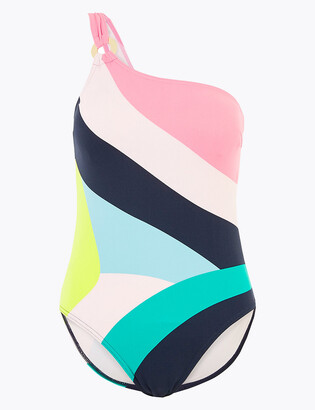 Marks and Spencer Tummy Control Striped One Shoulder Swimsuit