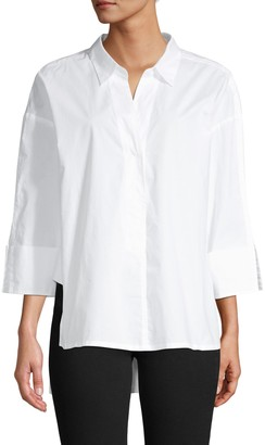French Connection Aoko Rhodes Cotton Poplin High-Low Shirt