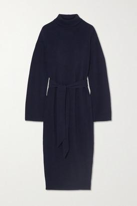 Nanushka Canaan Belted Ribbed-knit Turtleneck Midi Dress - Navy