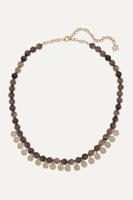 Sydney Evan 14-karat Gold, Wood And Diamond Necklace