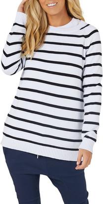 Legoe. Heritage Maternity Bateau Stripe Crewneck Knit Sweater