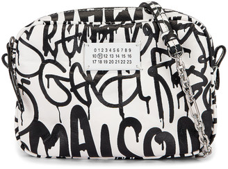 Maison Margiela Glam Slam Graffiti Camera Bag in White & Black | FWRD