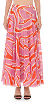 Emilio Pucci Printed Pull-On Maxi Skirt, Pink/Orange