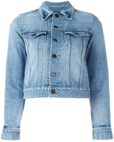 Saint Laurent Love Patch Cropped Denim Jacket