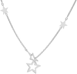 The Love Silver Collection Sterling Silver Star Drop Necklet