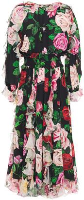 Dolce & Gabbana Ruffled Floral-print Silk Crepe De Chine Midi Dress