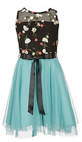 Teeze Me Girls Big Girls 7-16 Illusion Neckline Embroidered Mesh Fit-And-Flare Dress