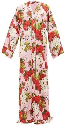 Dolce & Gabbana Geranium-print Silk-blend Charmeuse Kaftan - Pink Print