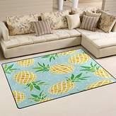 WOZO Fashion Pineapple Polka Dot Area Rug Rugs Non-Slip Floor Mat Doormats Living Room Bedroom 60 x 39 inches