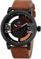 Shark Men's Fashion Tyre Design Hollow Dial Oversize Numeral Display Brown Crazy Horse Leather Analog Quartz Wrist Watch SH543