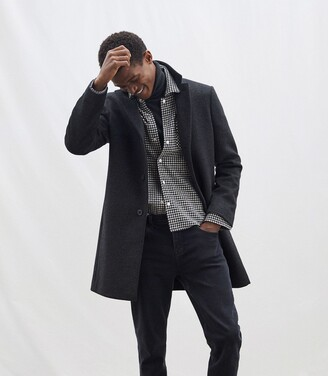 Reiss Gable - Wool-blend Epsom Overcoat in Charcoal