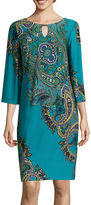 Ronni Nicole RN Studio by 3/4-Sleeve Paisley Bar-Neck Shift Dress