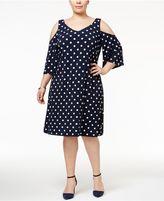 Connected Plus Size Cold-Shoulder Polka-Dot Shift Dress