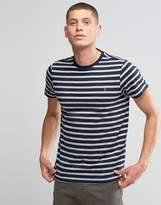Farah T-Shirt With Breton Stripe In Slim Fit Navy