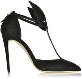 Olgana Paris Le Masque Black Suede and Satin Pump