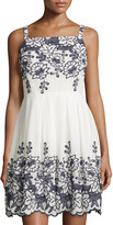 Taylor Embroidered Sleeveless Pleated Dress, Navy/Ivory