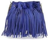 Stella McCartney Faux Suede Fringe Bucket Bag - Black